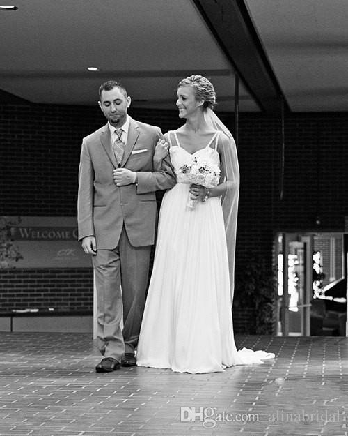 Скромный чешский 2016 свадебные платья линия бретельках искрящиеся пояс развертки поезд шифон видеть сквозь длинные свадебные платья халат де Marigae