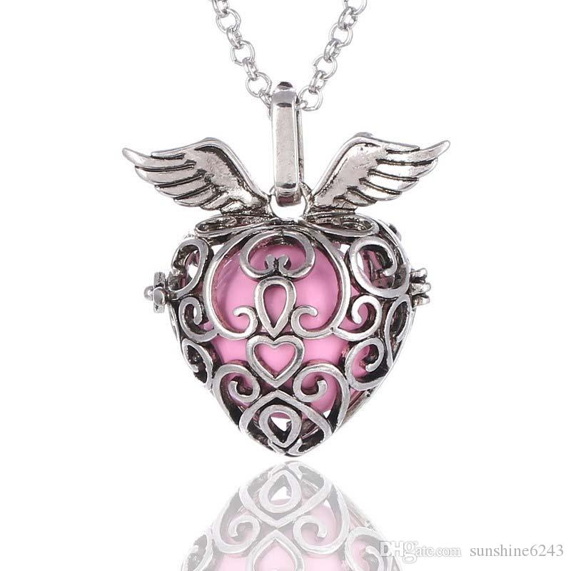 Heart Strawberry Sound pearl cage lockets Pendant Necklaces Opening floating Sound bead Lockets necklace For pregnant woman Jewelry