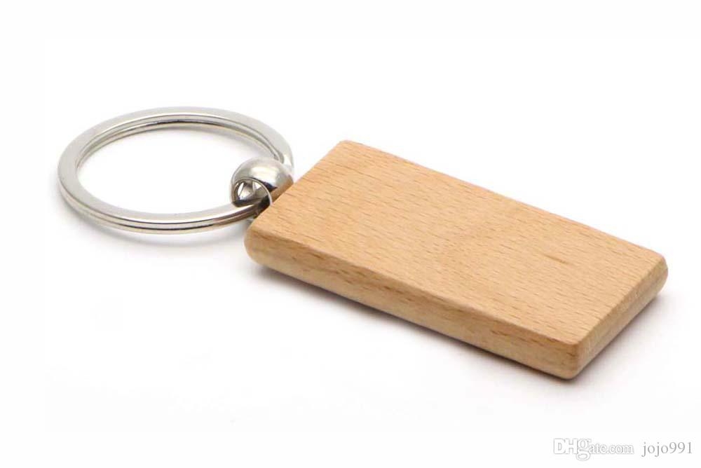 100x lege houten sleutelhanger rechthoek sleutelhanger 2.25 '' * 1.25 '' gratis schip