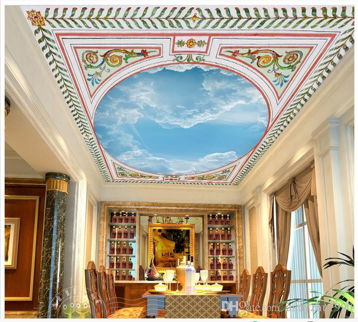 Custom 3d wallpaper 3d ceiling wallpaper murals wall Elegant green vine leaves circle sky blue sky white clouds frescoes 3d wall decortion