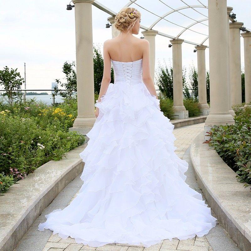 2016 корсет свадебные платья слоновой кости белый халат де Марие органза бисером Раффлед плюс размер дешевые свадебное платье