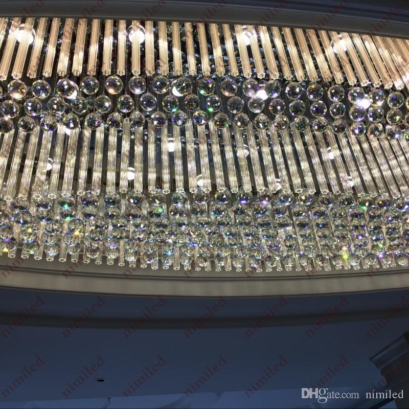 NIMI818 타원형 엔지니어링 대형 펜던트 램프 K9 크리스탈 천장 LED 조명 판매 부서 조명 호텔 로비 쇼룸 클럽 샹들리에