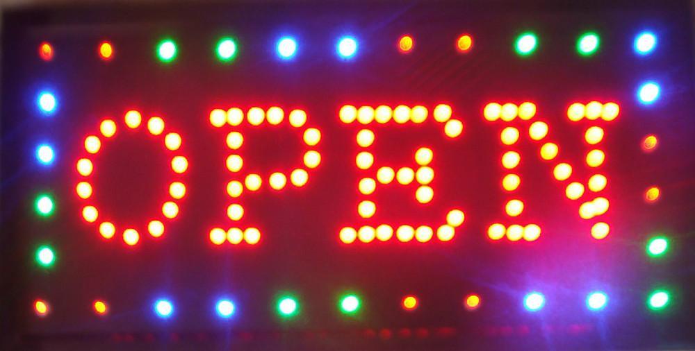 2016 Venta caliente de Animación led signo de luz de neón Abierta para barra Abierto llevó muestras de pantalla 48 cm * 25 cm al por mayor