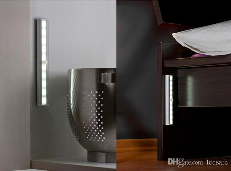 1 W DIY Taşınabilir LED Gece Lambası 1 Watt Kabine Dolap Kabine için Kablosuz Hareket Algılama 10leds Dekorasyon Aydınlatma Akülü 10 adet / grup DHL