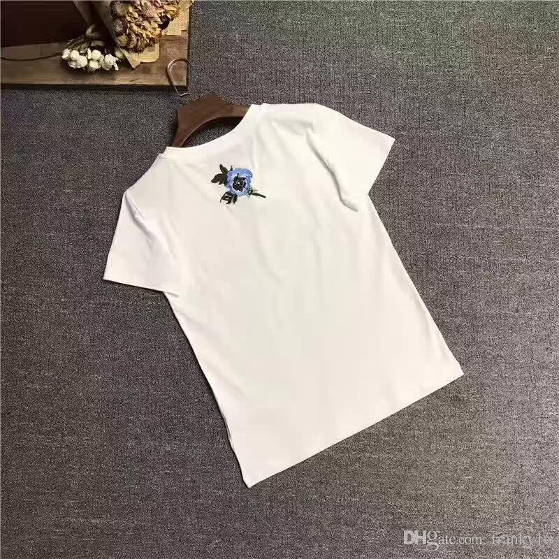 Hot Selling Black White Rose Embroidery T Shirt For Women Pure Cotton S M L XL High Quality Tops Tees Short Sleeve O Neck T-shirt