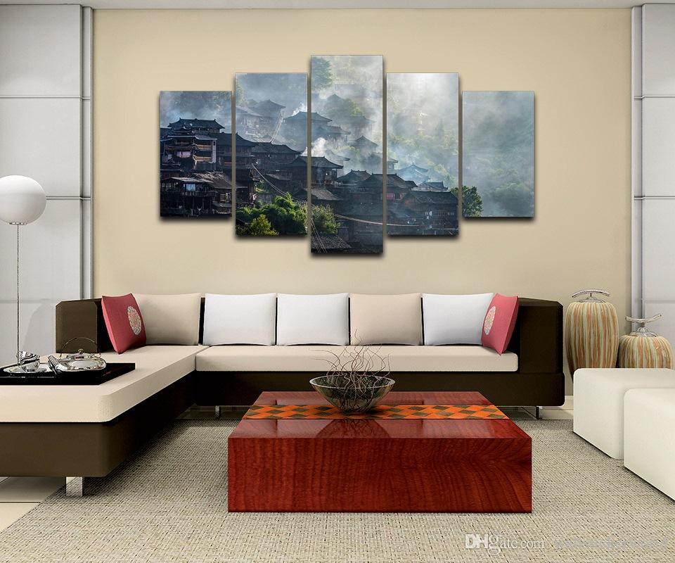 Village Fog Framed wall art picture Artistic Printed Drawing on Canvas Printed Home Decor Spray Oil Painting Decoration
