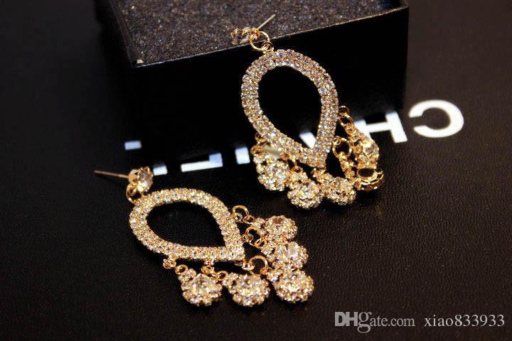 Orecchini di cristallo importati importati di alta qualità di lusso lungo eccellente istantaneo europeo ed americano