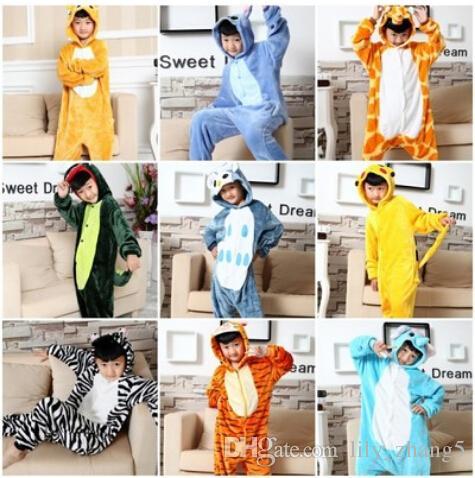Niño y niña de invierno Manta Sleeper Franela Pijamas de dibujos animados animal onesies Pijama de niño mameluco con capucha ropa de dormir Animal Cosplay Onesies
