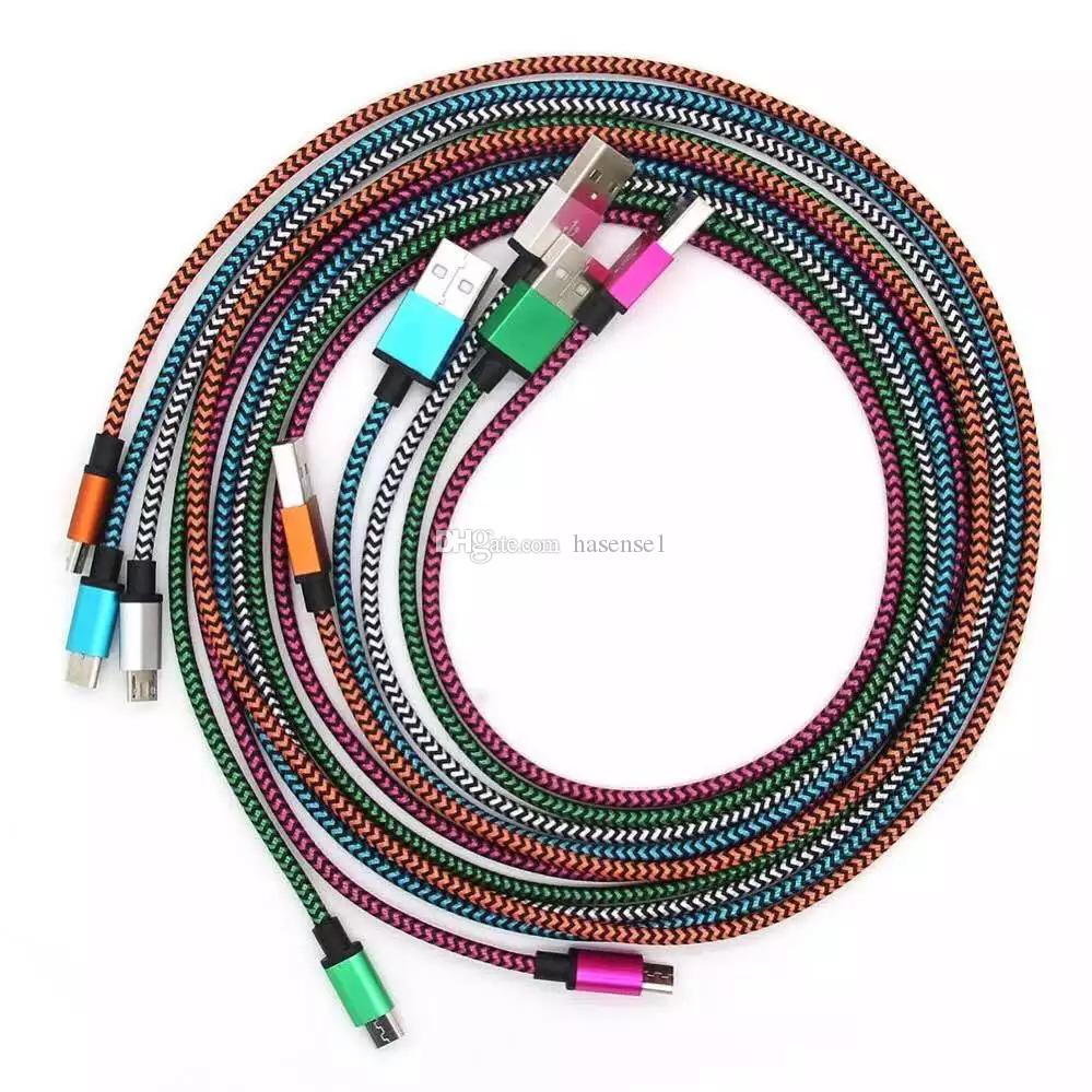 1 Mt Ununterbrochene Metall-Verbindungsstück-Gewebe-Nylon-Geflecht Micro-USB-Ladegerät Geflochtene Kabel Data Sync Ladekabel für Micro Android Samrt-Handys