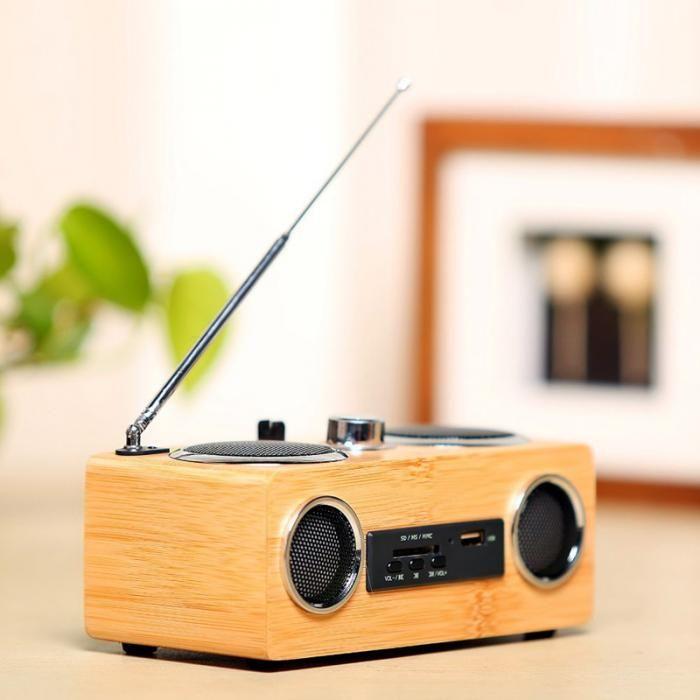 Handgefertigter Bambus-Tragbarer Mini-HiFi-Bambus-Holz Boombox TF / USB-Kartenlautsprecher FM-Radio mit Fernbedienung MP3-Player
