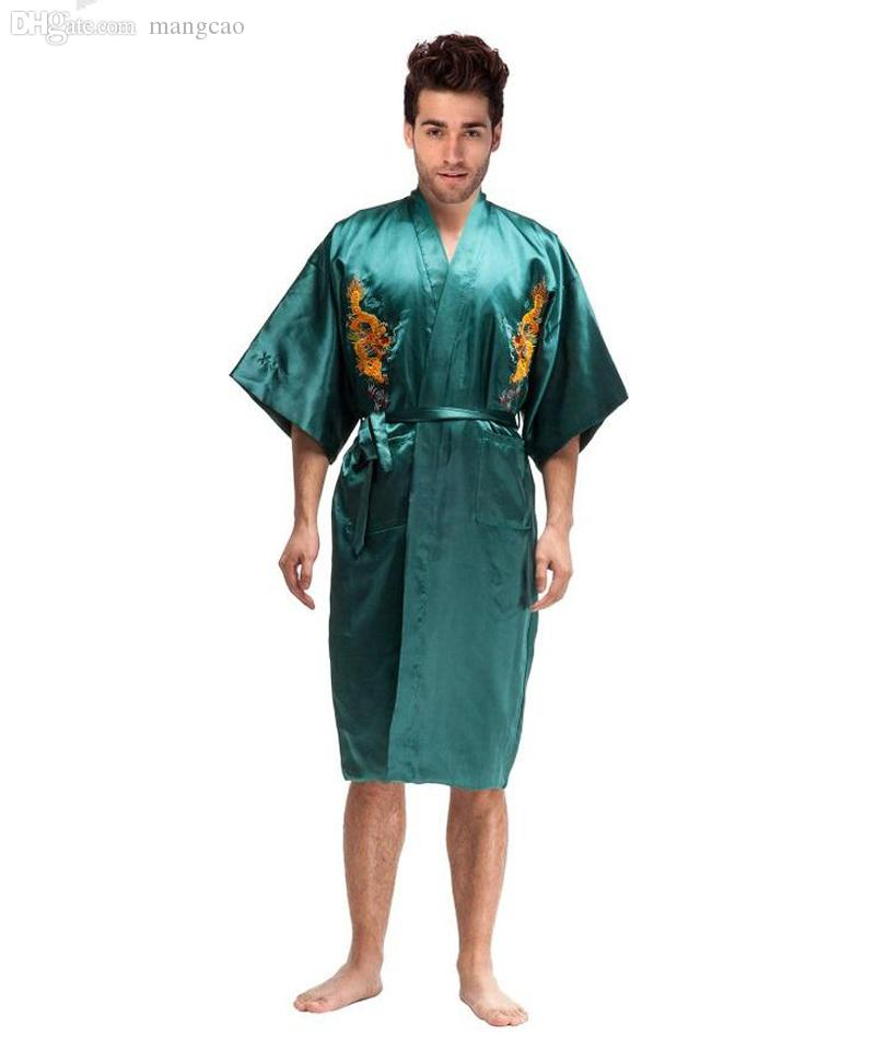 88a014bf964a 2019 Wholesale Novelty Green Chinese Men Silk Satin Robe Kimono Yukata Gown  Embroidery Dragon Nightgown Pajamas Size S M L XL XXL XXXL MR020 From  Mangcao