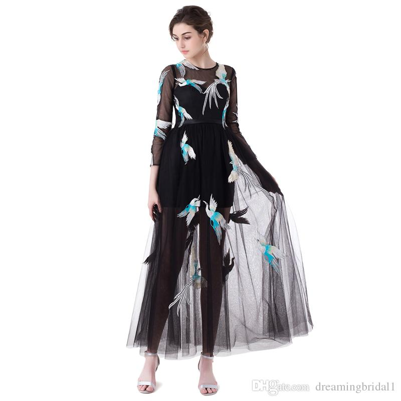 Cheap Embroidery Formal Prom Dresses 2017 New Long Sleeve Scoop Neck A Line Ankle Length Party Evening Gown Dress 13-LG0325