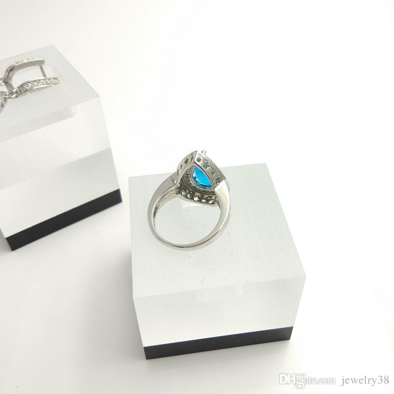 Water Drop sky blue 925 Sterling Silver Women Jewelry Sets White Topaz Surrounded Earrings/Rings Free Box