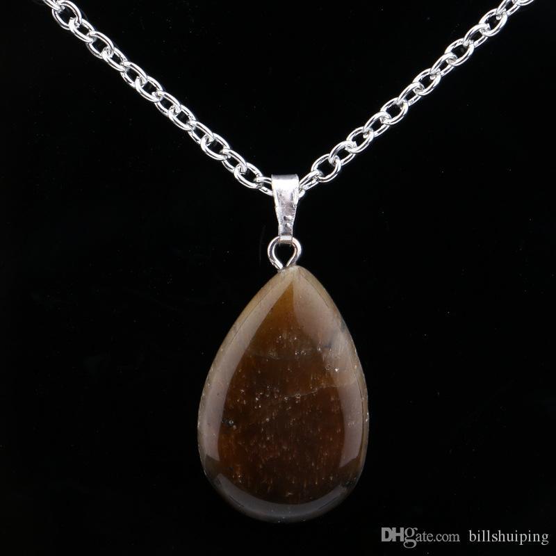 Bunte natürliche Stein Anhänger Halsketten mit versilberter Kette für Frauen Männer Party Club Decor Modeschmuck Zubehör