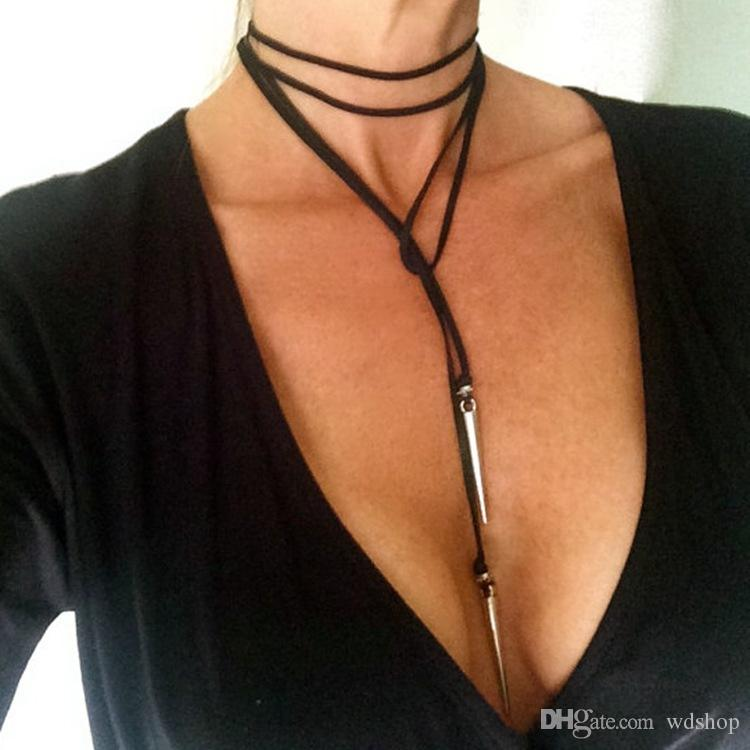 7 stile einstellbar schwarz choker silber spike kunstleder choker lariat krawatte halskette niet blatt perle quaste stoff choker halskette