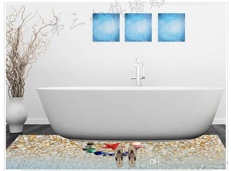 6 Styles Creative 3D Wall Stickers Starfish Footprint Beach Bathroom Floor Sticker Sea Vinilos Paredes Kids Poster