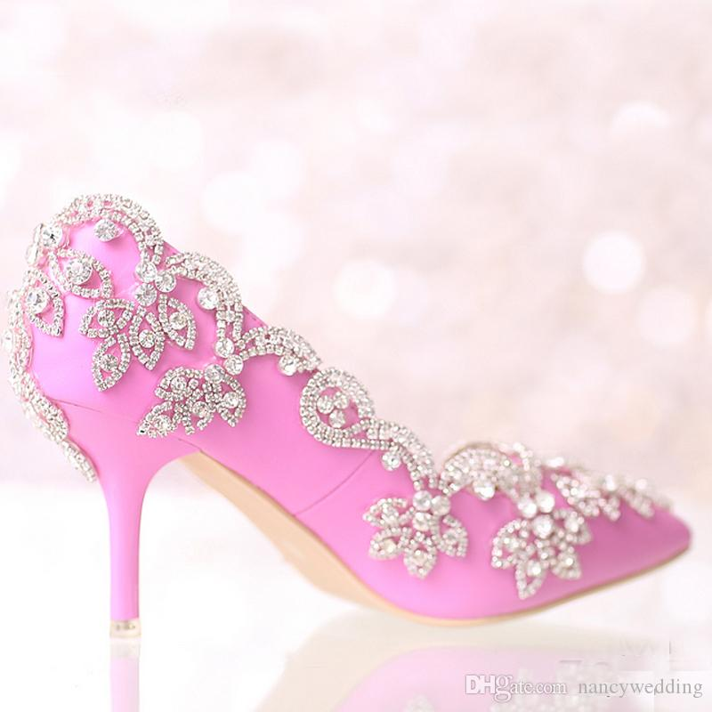 여름 새로운 디자이너 핑크 뾰족한 발가락 웨딩 슈즈 중동 발 뒤꿈치 신부 신발 라인 석 웨딩 파티 댄스 파티 이벤트 신발 펌프