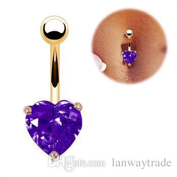 316L Surgical Steel Zircon Heart Shaped Belly Button Rings Navel Bar Rings Piercing Body Jewelry Gold Plated