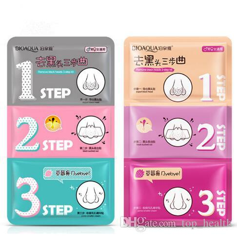 Beauty Clean Face Care Cosmetic Pig Nose Mask Remove Blackhead Acne Remover  Clear Black Head 3 Step Kit Nose Strip Mask CCA7080 1200pcs