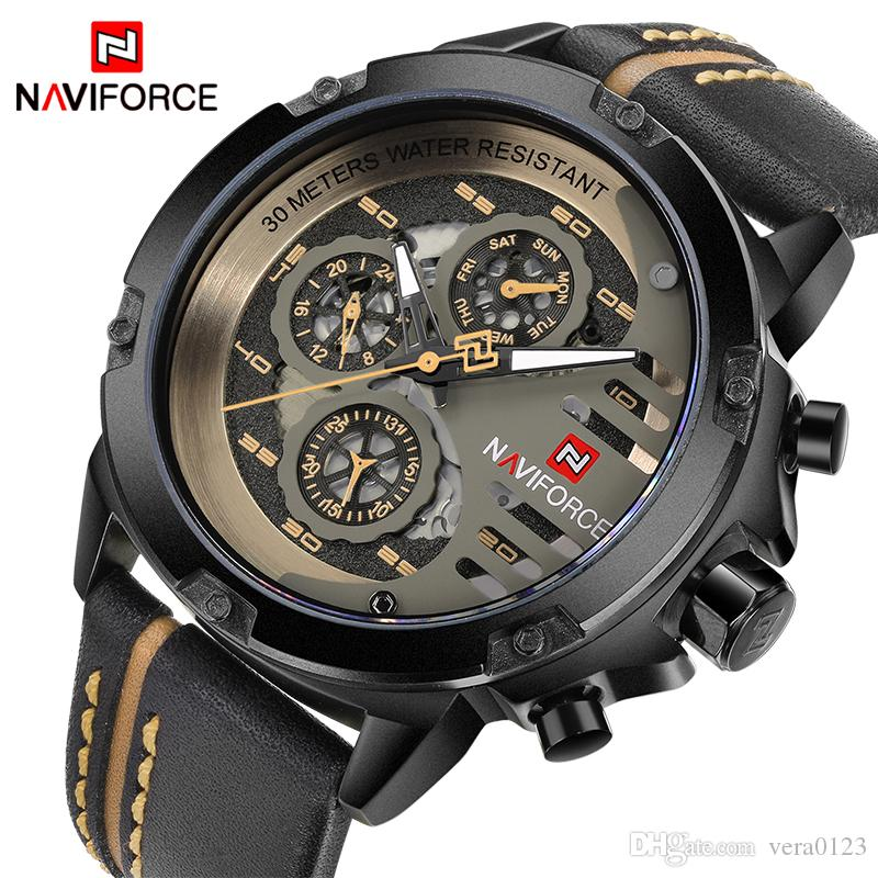 73a7b3f898c NAVIFORCE Mens Watches Top Brand Luxury Waterproof 24 Hour Date Quartz  Watch Man Leather Sport Wrist Watch Men Waterproof Clock Watch For Sale  Watch Sales ...