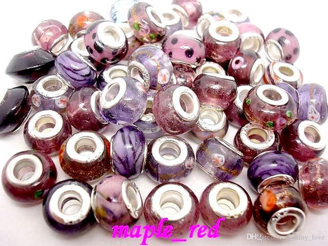 100 unids / lote mezclar Murano Purple Murawork Glass Hig Hole Beads para la Fabricación de Joyas de Perlas Sueltas DIY Granos para la Pulsera Europea Al Por Mayor a Granel
