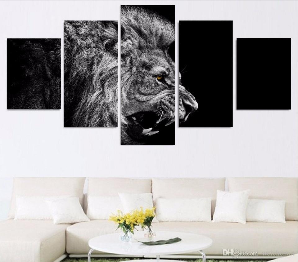 / Set Sem Framed HD Impresso leão branco pintura preto lona sala de impressão decoração de impressão imagem do cartaz da pintura sem moldura lona