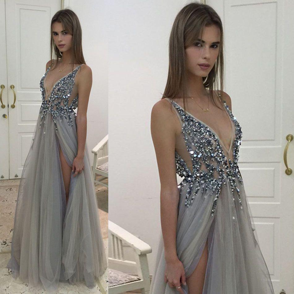 2017 Abiti da sera grigi argento sexy scollo a V illusione corpetto paillettes in rilievo tulle spacco Backless Berta Prom Dresses abiti da festa di sera