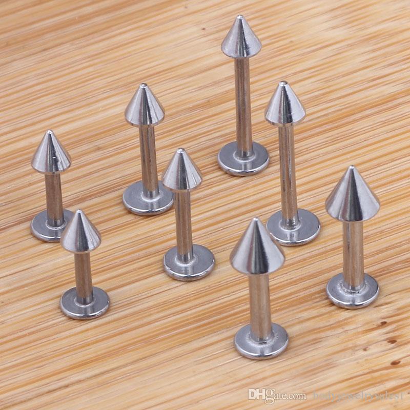 リップピアス100ピース/ロットミックス6/8/10 / 12mmステンレス鋼のボディジュエリーコーンリップリングラブレットバー