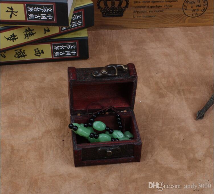 freies Verschiffen Vintage-Schmuck-Kasten-Organisator-Speicher-Fall Mini-hölzerne Blumen-Muster Metall Container Handarbeit aus Holz Kleine Kästen