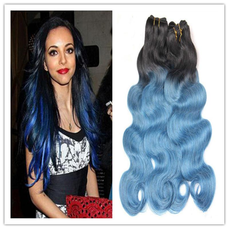 Cheap 1b Denim Blue Human Hair Extensions Body Wave 8a Brazilian