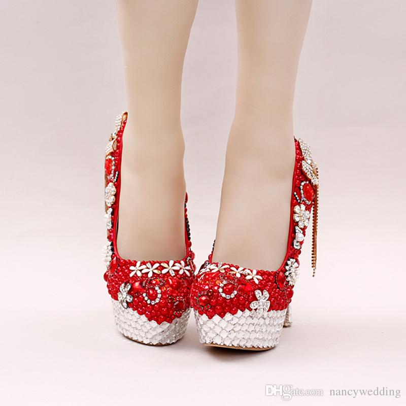 붉은 색 화려한 진주의 신부의 신발 라인 석 보우 술 웨딩 드레스 구두 여성 파티 댄스 파티 하이힐 레이디 발렌타인 데이 펌프
