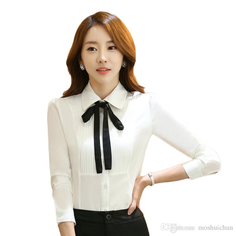 d2d07cede68 2019 Ladies Long Sleeve Gray Light Blue White Blouse 2017 Autumn Work Wear  Office OL Style Shirts Female Casual Tops Chemise From Moshuichun