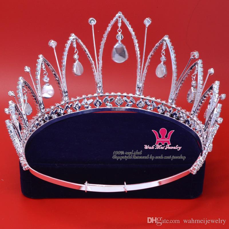 Moda Rhinestone Taç Tiara Gelin Prenses için Miss Güzellik Pageant Kraliçe taç Düğün Saç Aksesuarları Parti Balo pretty Göster Mo009