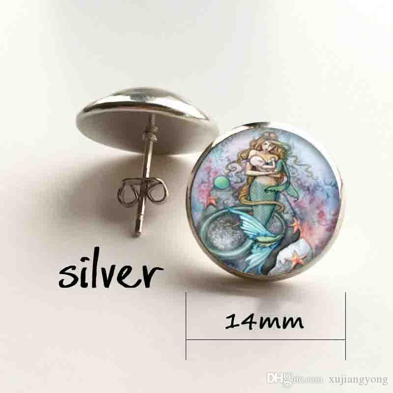 Mermaid Breast Feeding Baby Art Print Pendant Necklace or Keyring Glass Jewelry
