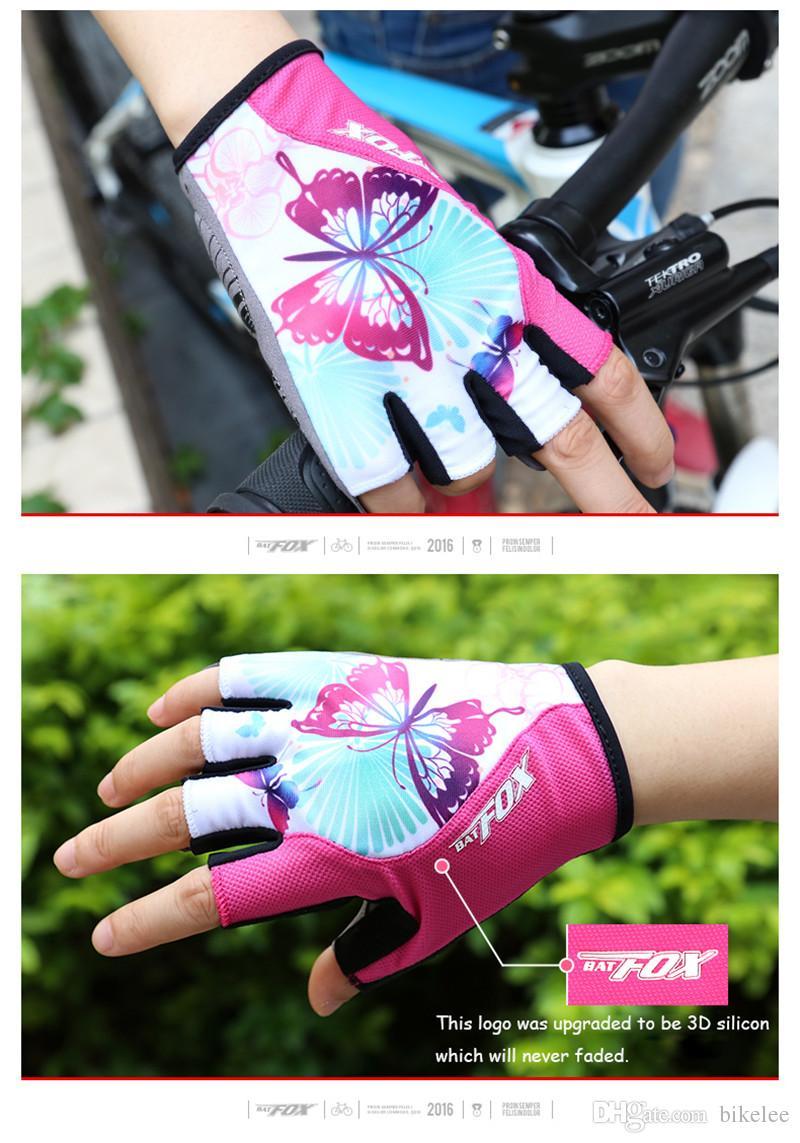 Verão das Mulheres de Ciclismo Meia Luvas de Dedo Luvas MTB Bicicleta Para Fitness Respirável Luvas de Bicicleta Esporte Borboleta Impresso