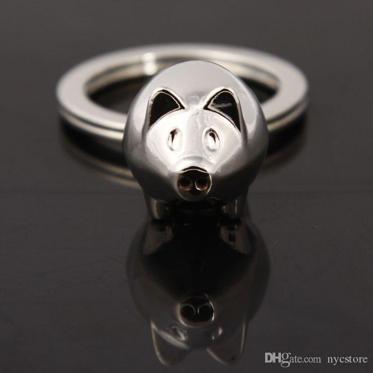 cute mini pig keychains metal alloy animal silver pendants key ring for bags