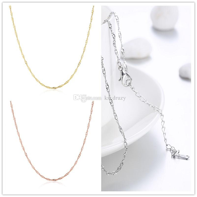 6fffb7e1d01 Silver Gold Rose Gold Water Wave Singapore Chain Necklace Length 18