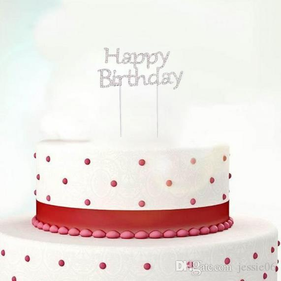 Glänzende Strass alles Gute zum Geburtstag Kuchen-Deckel Stecker Letters Kristall Pick-Stock-Kuchen-Verzierung für Geburtstags-Party-Kuchen-Dekoration Geschenk