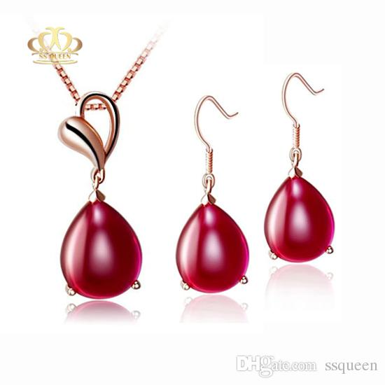 Wholesale 18K rose gold plated 925 Silver drop cabochon cut natural red agate Jewelry set