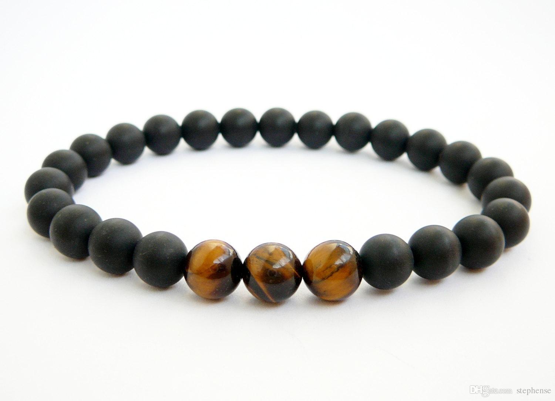 SN0325 Wholesale Mens Bracelet Black Onyx Bracelet Tiger Eye Beaded Bracelet 19cm length Natural Stone stretch bracelets