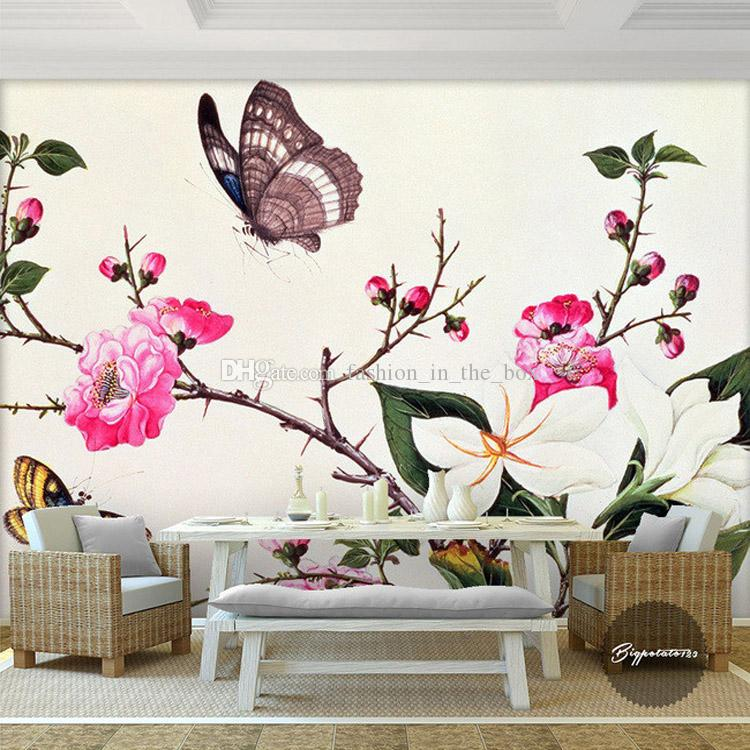 Custom 3d wall murals flower butterfly photo wallpaper beautiful wallpaper art room decor kids for Flower wallpaper for living room