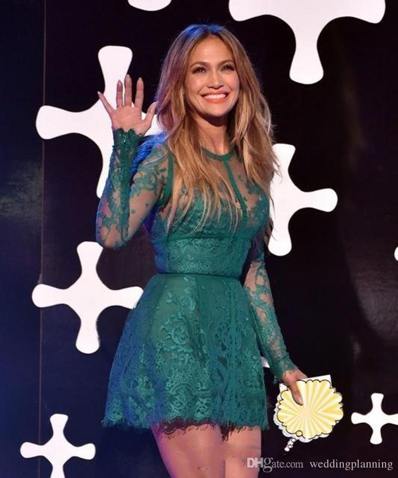 Jennifer Lopez Red Carpet New Robe De Cocktail En Dentelle Appliques À Manches Longues Vert Court Une Ligne Cocktail Robes De Bal
