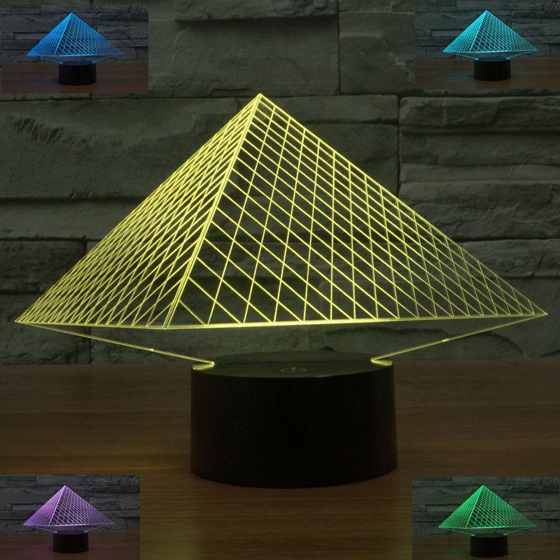 2018 Pyramid 3d Illusion Bulbing Table Desk Lamp Change Touch Switch Led Night Light For Kids Children Bedroom Decoration From Home2010garden
