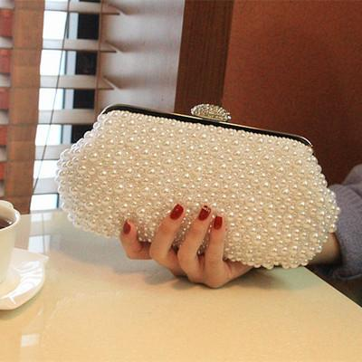Women Pearl White Shoulder Handbag Clutch Wedding Bridal Party Prom Purse Evening Bag Bridal Accessories Silver Wraps