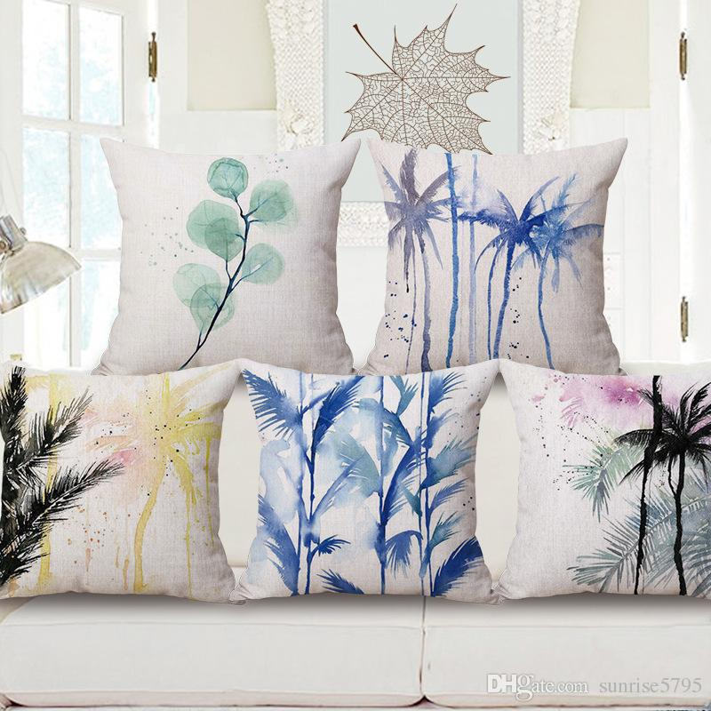 Blue Ink Color Palm Cushion Cover Tropical Decorative Pillows Case Sofa  Couch Chair Home Decor Leaf Plant Cojines Cushion For Patio Furniture 24x24  Patio ...