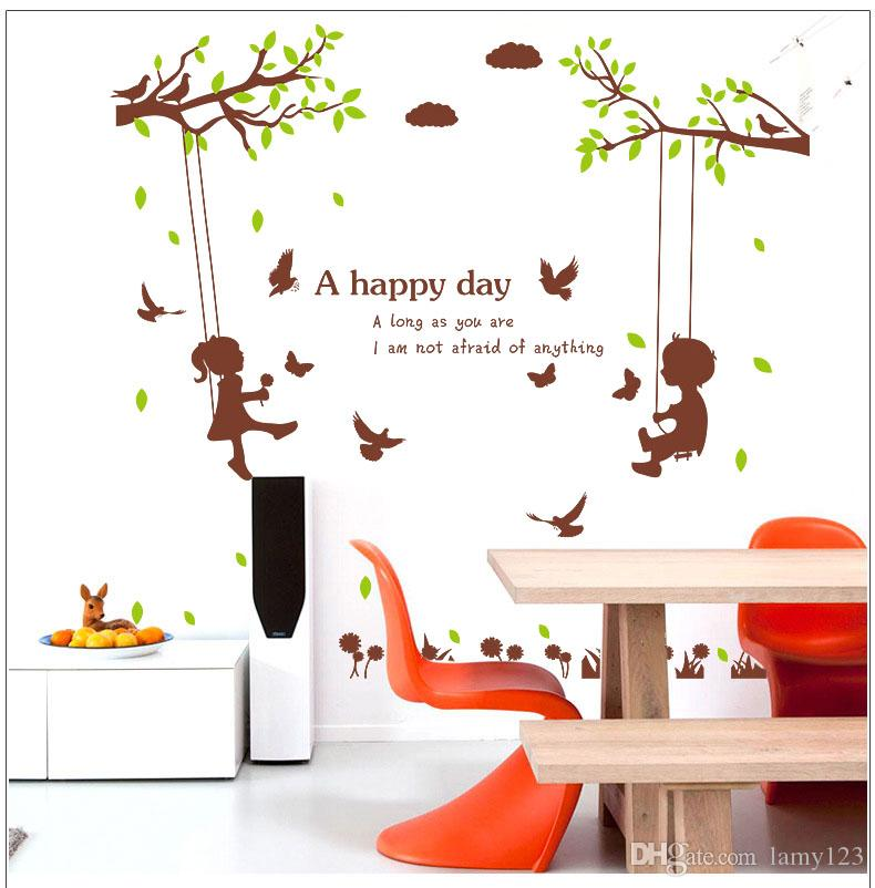 """Wholesale Cute Boys and Girls A Happy Day Wall Stickers Bedroom Living Room Children's Room Decorative PVC Removable Wall Decor 49.2x52.4"""""""