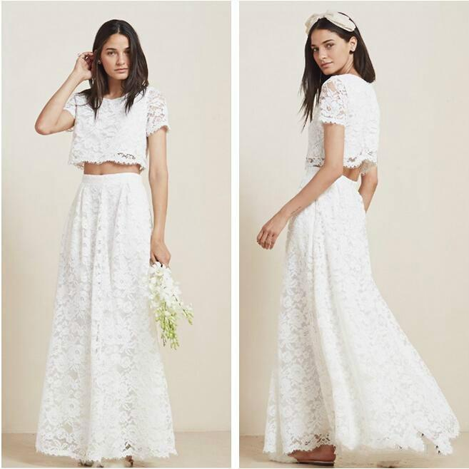 Cheap 2 Piece Wedding Dresses: Discount Stunning 2016 Two Piece Full Lace Beach Wedding