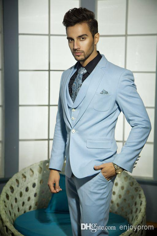 Three Piece Suit Sky Blue Men Wedding Suit Men Suit Male Suit ...