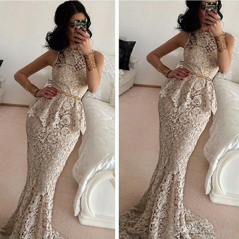 Hot Sale 2016 Elegant Peplum Mermaid Prom Dresses Jewel Full Lace Sleeveless Formal Party Gowns Sweep Length Courrt Train with Sashes/Belt