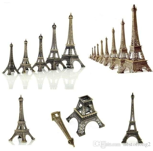 Vente chaude Bronze Paris Tour Eiffel métal Figurine Statue vintage Modèle Accueil Décors en alliage Souvenir